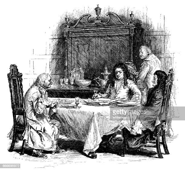 Early 18th century men seated around the dinner table