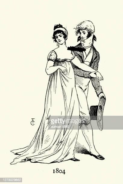 19世紀初頭のファッション、スマートな服装の若いカップル - 1800~1809年点のイラスト素材/クリップアート素材/マンガ素材/アイコン素材