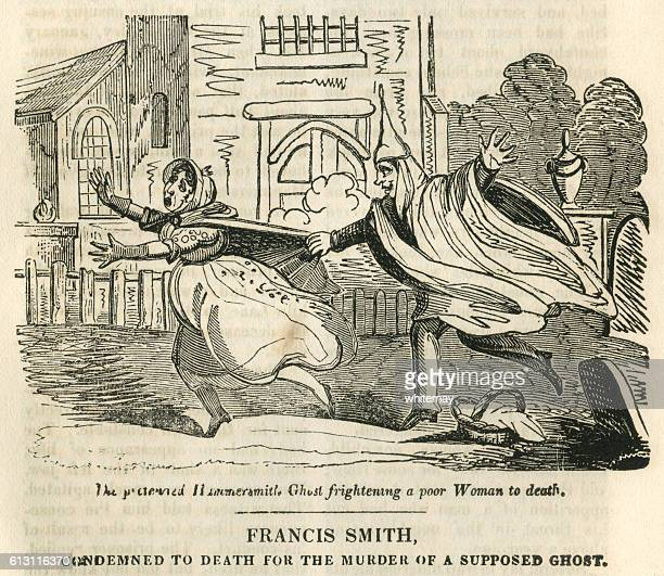 early 19th century woman being frightened by a spoof ghost - infamous stock illustrations, clip art, cartoons, & icons