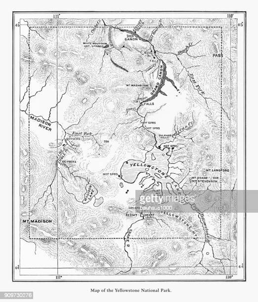 early antique map of yellowstone national park, wyoming, montana, and idaho, united states, american victorian engraving, 1872 - rocky mountains north america stock illustrations