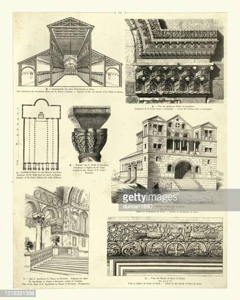 ilustrações de stock, clip art, desenhos animados e ícones de early christian architectue, church turmanin syria, old st peter at rome - st. peter's basilica the vatican