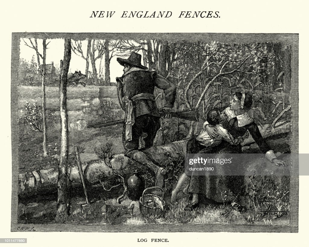 Early colonist family hiding behind a log fence, New England : stock illustration