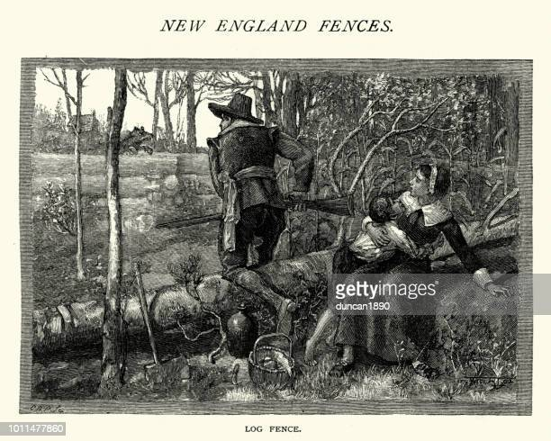 Early colonist family hiding behind a log fence, New England