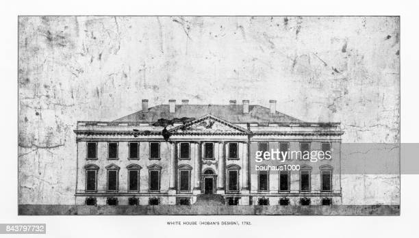 early drawing of the white house, washington, d.c., united states, antique american photograph, 1900 - white house washington dc stock illustrations, clip art, cartoons, & icons