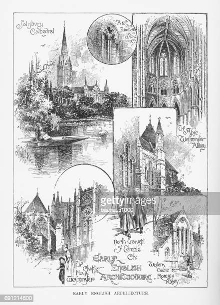 early english architecture, engraving, 1892 - spire stock illustrations, clip art, cartoons, & icons