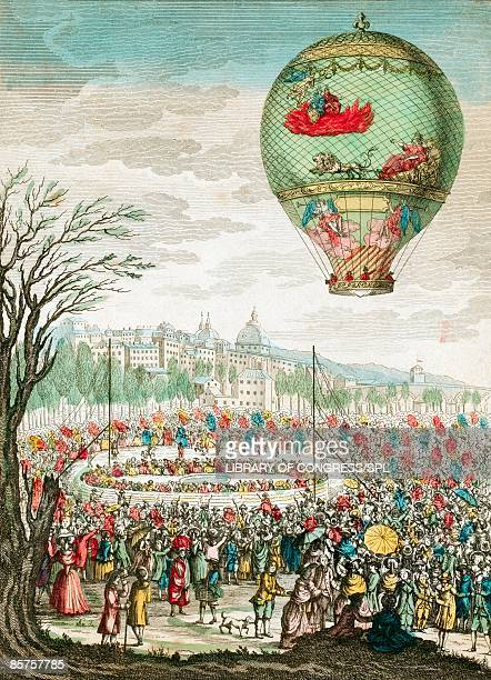 early hot air balloon flight - france stock illustrations