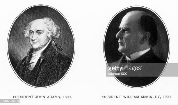early illustration of presidents john adams and william mckinley, antique american illustration, 1900 - president stock illustrations, clip art, cartoons, & icons