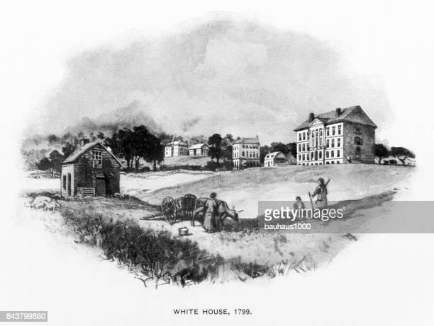 Early Illustration of The U.S. Capital, Washington, D.C., United States, Antique American Illustration, 1900