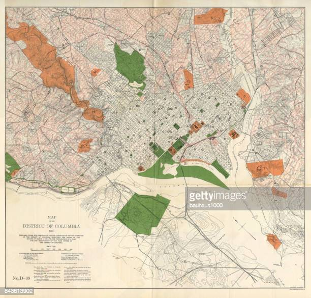 Early Map of the City and Capitol of Washington, D.C., United States, Antique American Illustration, 1900