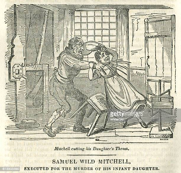 early nineteenth century man cutting a girl's throat - murder stock illustrations, clip art, cartoons, & icons