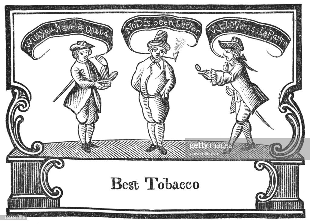 Early Tobacco Label of a Tobacconist (1730) : stock illustration