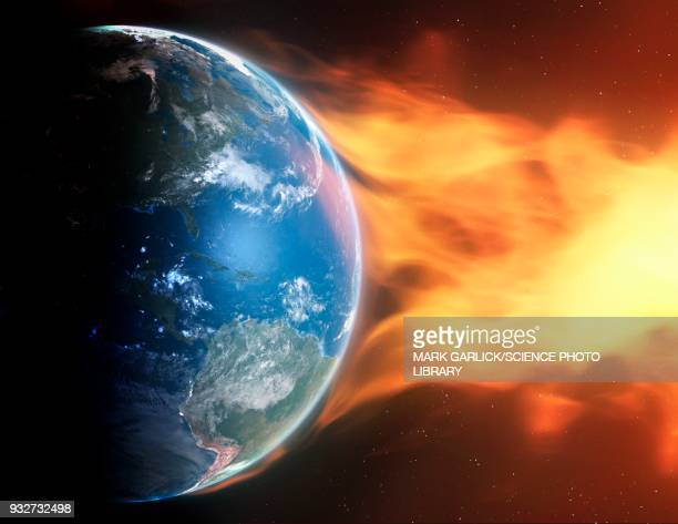 earth and coronal mass ejection, illustration - space and astronomy stock illustrations