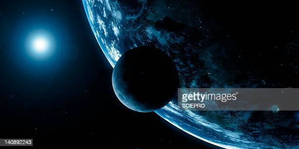 earth and moon, artwork - orbiting stock illustrations