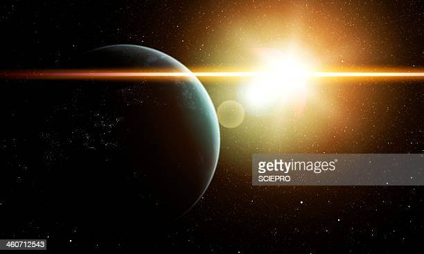 earth and sun, artwork - planet space stock illustrations