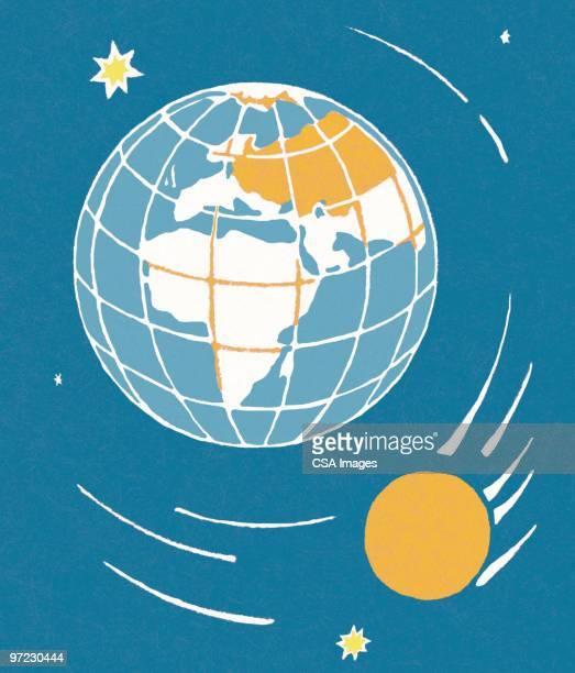 illustrations, cliparts, dessins animés et icônes de earth and sun - hémisphère