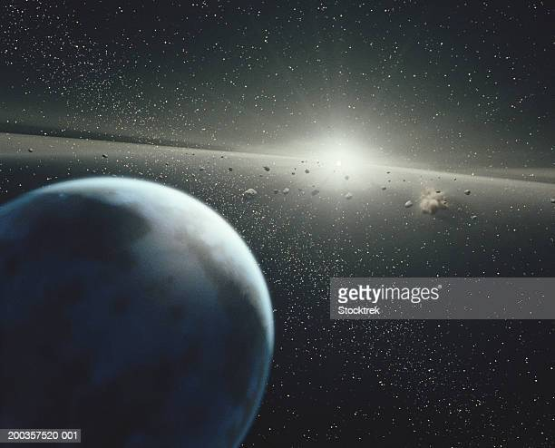 Earth, asteroid belt and star
