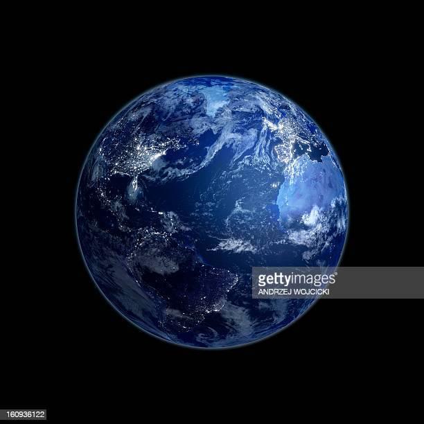 earth at night, artwork - satellite view stock illustrations