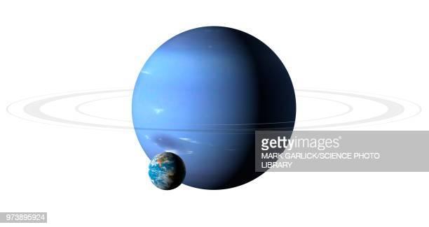earth compared to neptune, illustration - uranus stock illustrations