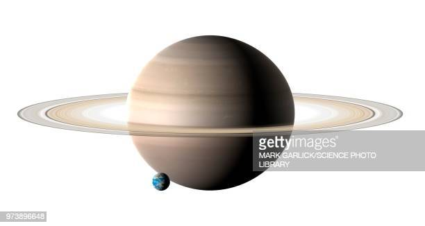 earth compared to saturn, illustration - saturn planet stock illustrations