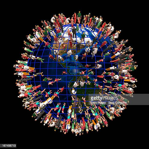 earth crowded with people - large group of people stock illustrations