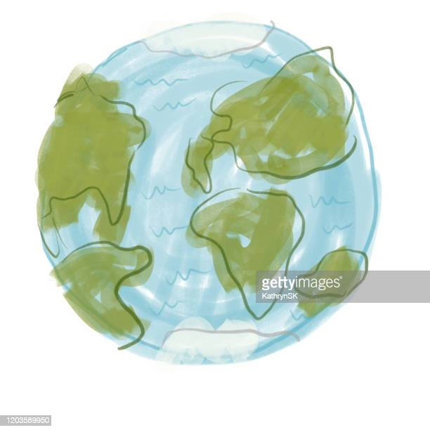 earth drawing - earth day stock illustrations