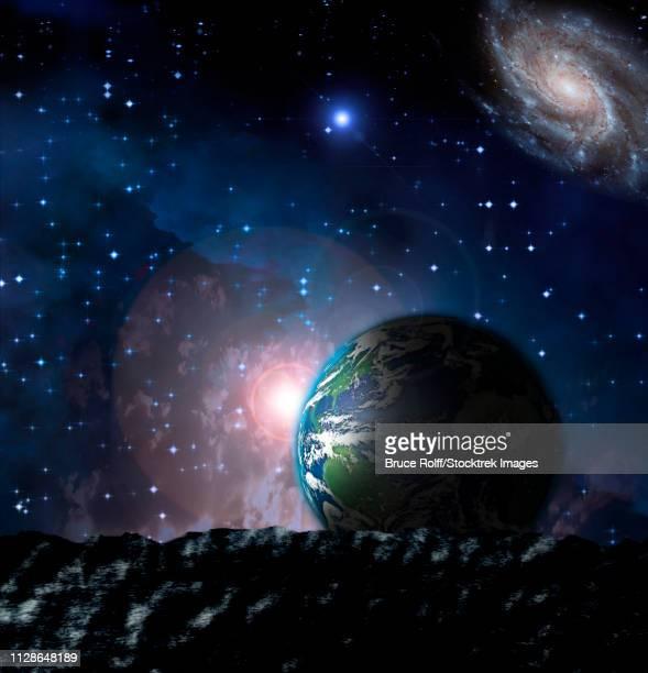 ilustraciones, imágenes clip art, dibujos animados e iconos de stock de earth from moonscape - galaxiaespiral