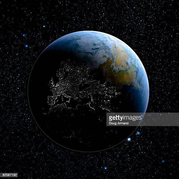 earth from space showing  - day stock illustrations