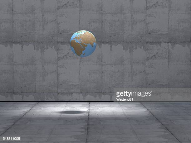 earth hovering on in empty industrial hall, 3d rendering - concrete wall stock illustrations, clip art, cartoons, & icons