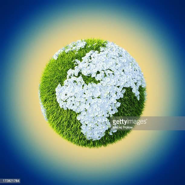 earth made of grass and flowers set up on euorpe - idylle stock-grafiken, -clipart, -cartoons und -symbole