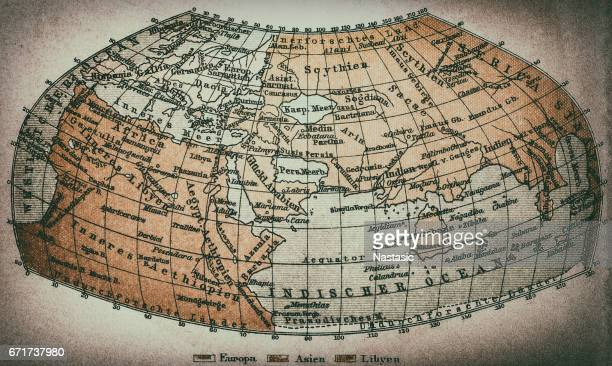 earth map according to claudius ptolemaeus - physical geography stock illustrations, clip art, cartoons, & icons