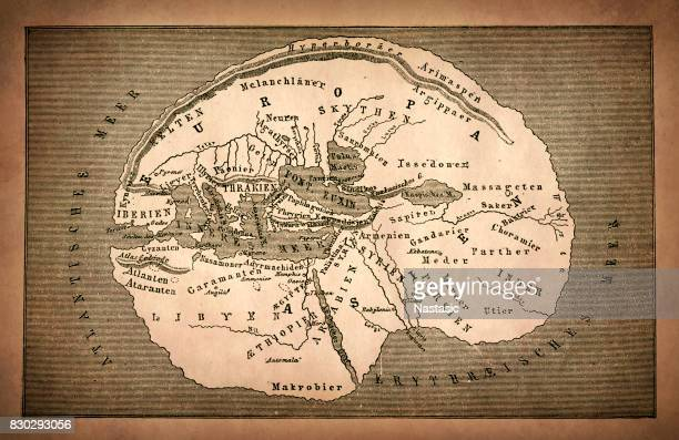 earth map according to herodotus - herodotus stock illustrations