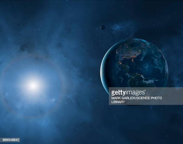 earth, moon and sun, illustration - planet space stock illustrations