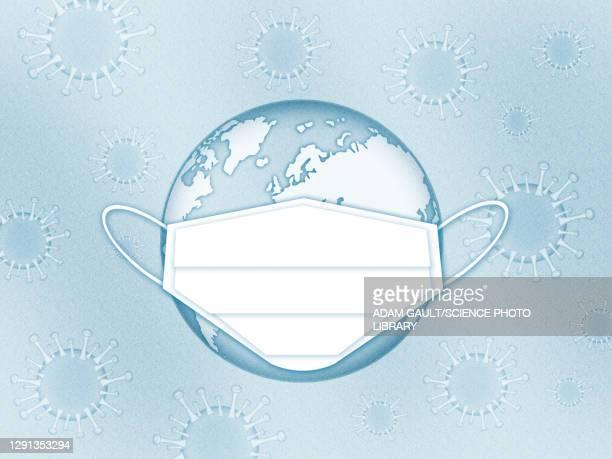 earth with face mask and covid-19 viruses, illustration - ウイルス学点のイラスト素材/クリップアート素材/マンガ素材/アイコン素材