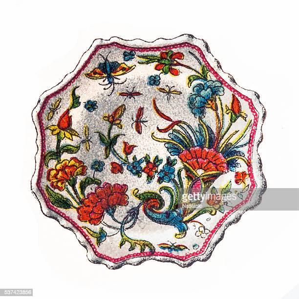 earthenware of rouen - earthenware stock illustrations, clip art, cartoons, & icons