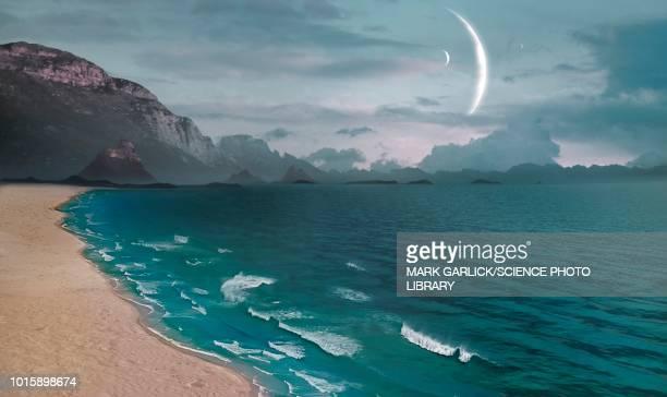 ilustrações de stock, clip art, desenhos animados e ícones de earth-like moon, illustration - extraterrestre