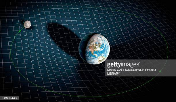 earth-moon system in space-time - mass stock illustrations