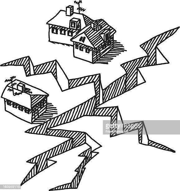 Earthquake Crack Buildings Drawing