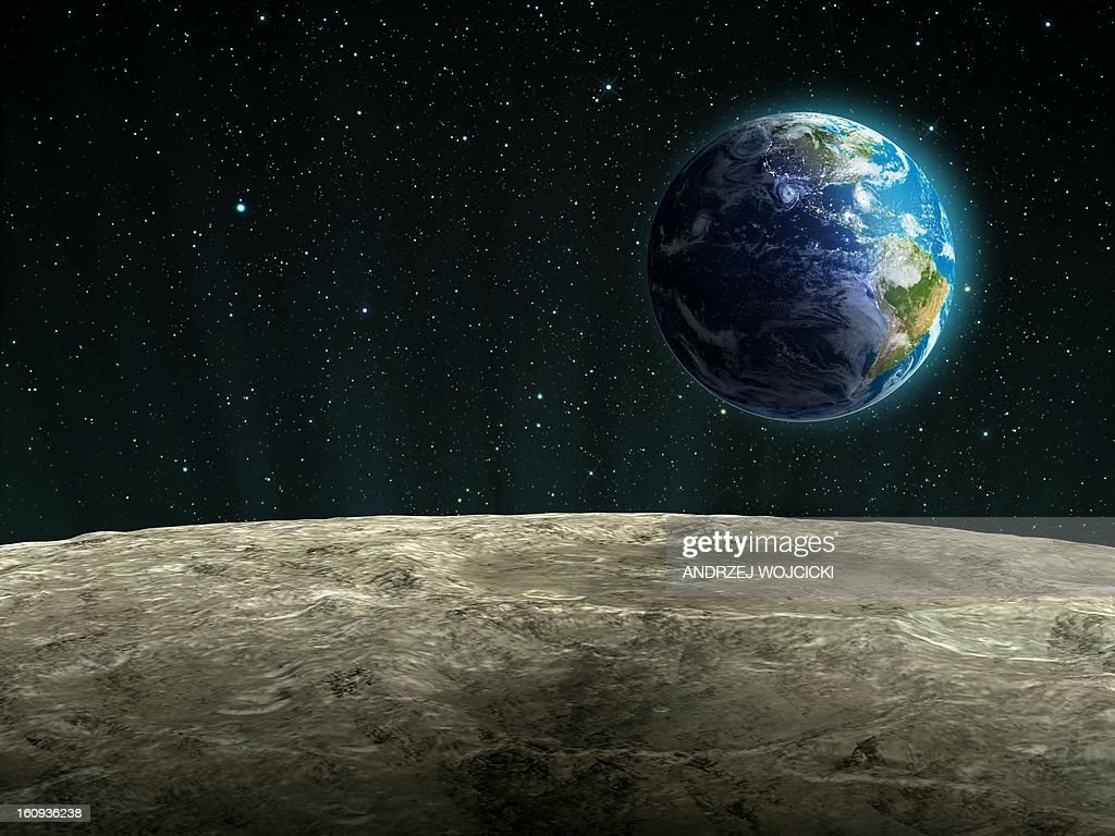 earthrise from the moon artwork stock illustration | getty images