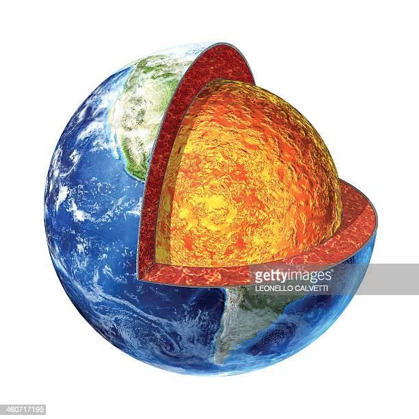 ilustraciones, imágenes clip art, dibujos animados e iconos de stock de earth's interior, artwork - cortezaterrestre