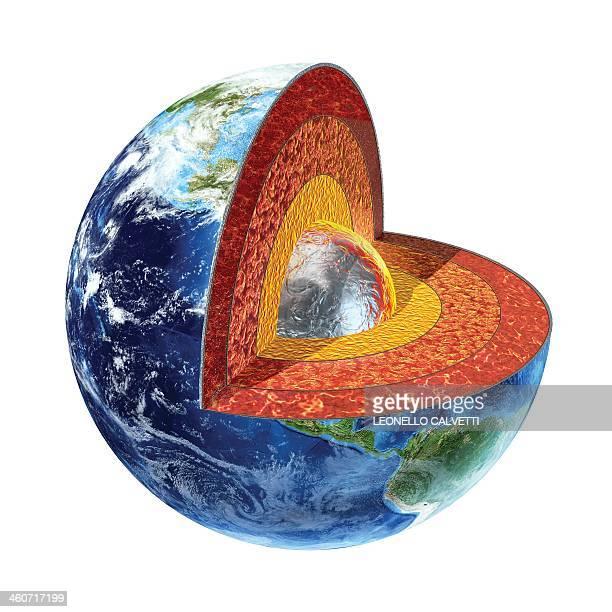 ilustraciones, imágenes clip art, dibujos animados e iconos de stock de earth's interior, artwork - corteza terrestre