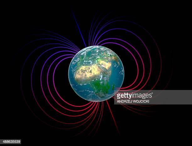 ilustraciones, imágenes clip art, dibujos animados e iconos de stock de earth's magnetosphere, artwork - corteza terrestre