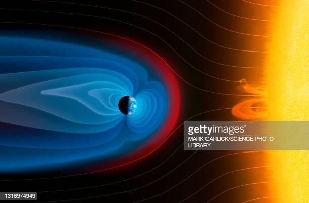earth's magnetosphere, illustration - physics stock illustrations