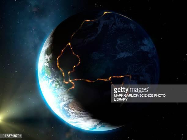 ilustraciones, imágenes clip art, dibujos animados e iconos de stock de earth's ring of fire, illustration - uncertainty