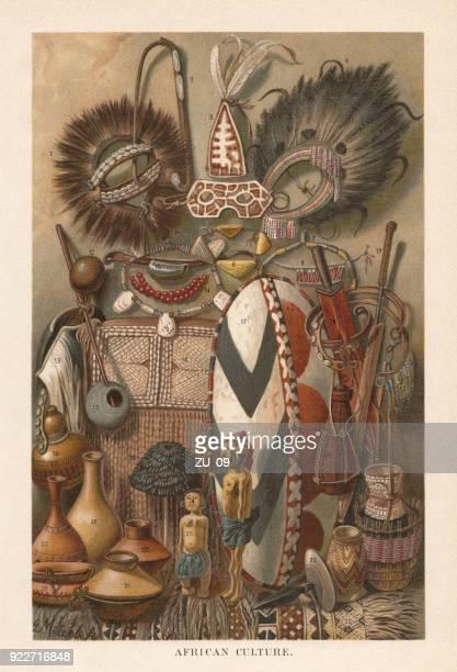 illustrations, cliparts, dessins animés et icônes de dispositifs de l'afrique de l'est de la culture et les produits, lithographie, publiés en 1897 - masque africain