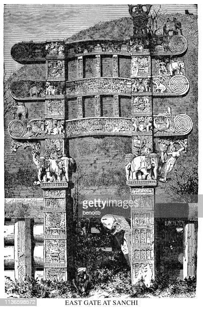 east gate at sanchi - stupa stock illustrations