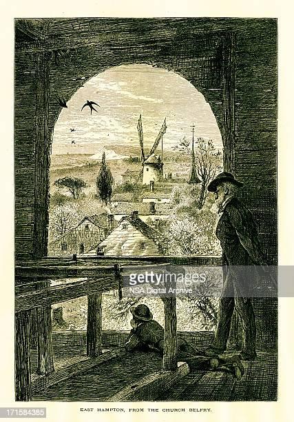east hampton - village stock illustrations