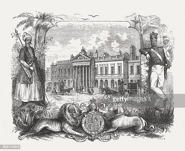 East India House in London (c.1800), wood engraving, published 1880