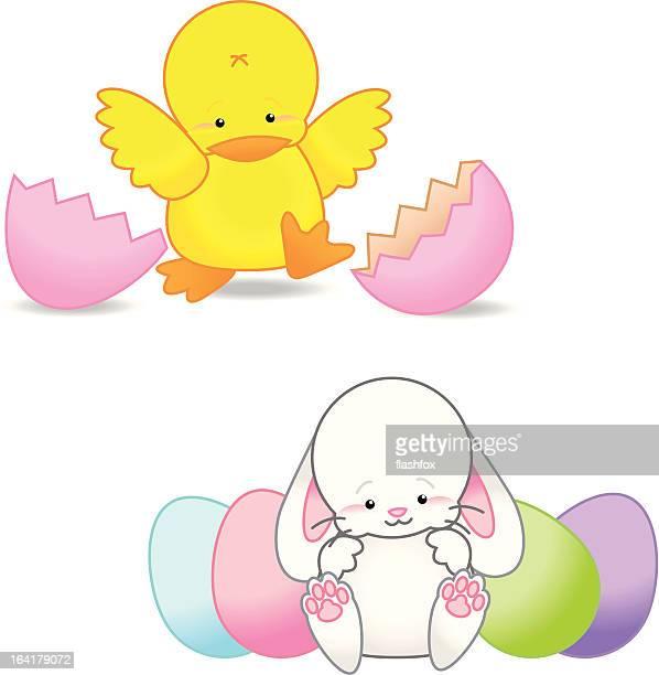 Chick und Ostern Baby Bunny