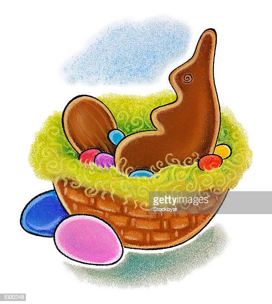 easter basket with chocolate bunny and eggs - milk chocolate stock illustrations, clip art, cartoons, & icons