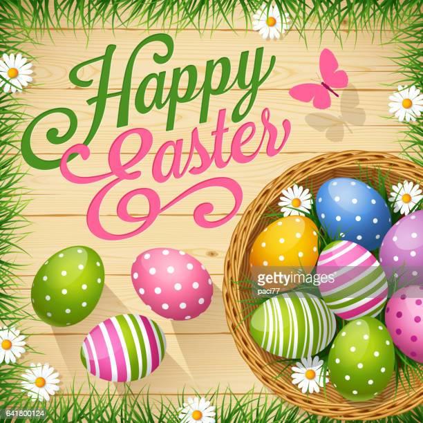 ilustrações, clipart, desenhos animados e ícones de cesta de ovos de páscoa com colorido - cesta de páscoa